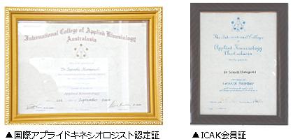 国際的なアプライド・キネシオロジー認定証
