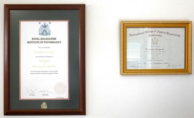 カイロプラクティック学位とアプライド・キネシオロジー認定証